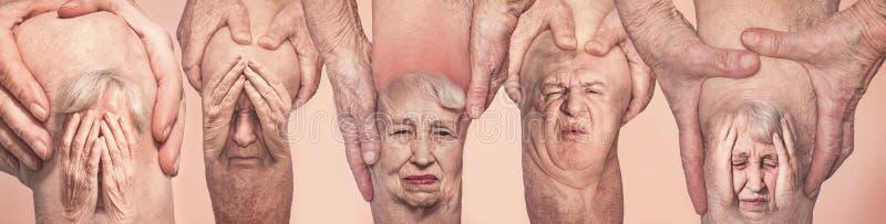 Uomini senior che tengono il ginocchio con dolore collage Concetto di dolore e di disperazione astratti immagine stock