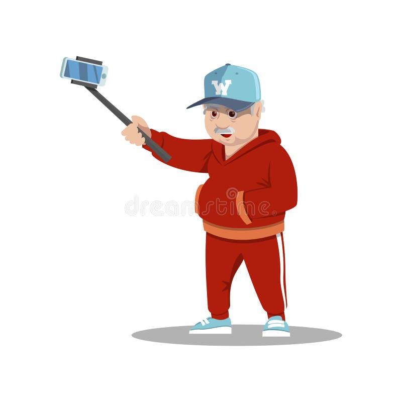 Uomini senior del fumetto sveglio che prendono un selfie con un bastone Illustrazione di vettore royalty illustrazione gratis