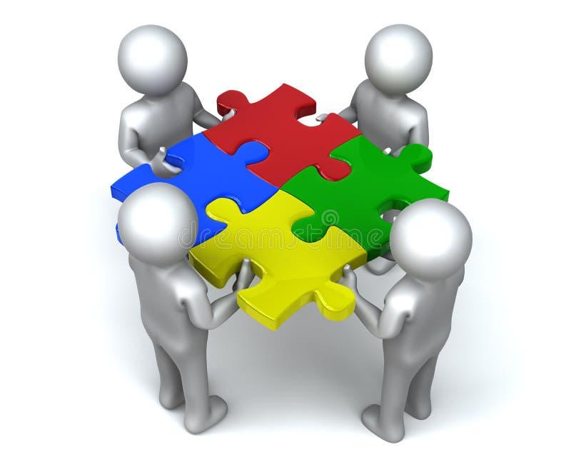 Uomini uniti del puzzle illustrazione di stock