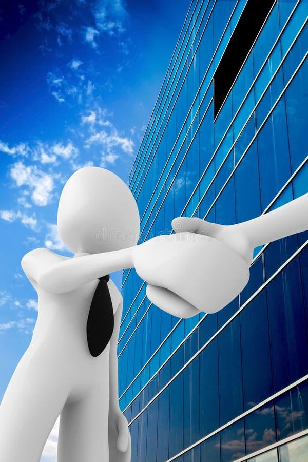 uomo 3d che agita le mani davanti ad un buildin dell'ufficio royalty illustrazione gratis