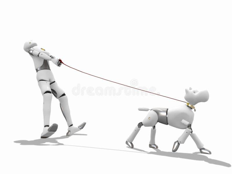 uomo 3d che cammina un cane royalty illustrazione gratis