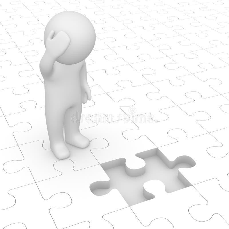 uomo 3d che esamina parte mancante del puzzle illustrazione di stock
