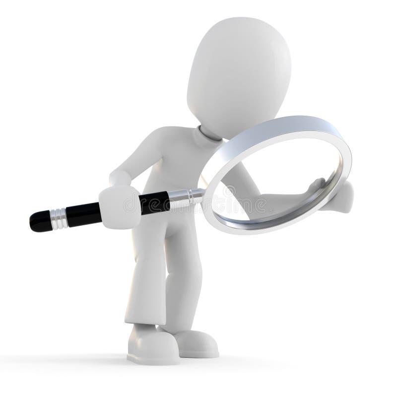 uomo 3d che giudica un vetro del magnifier isolato su bianco illustrazione vettoriale