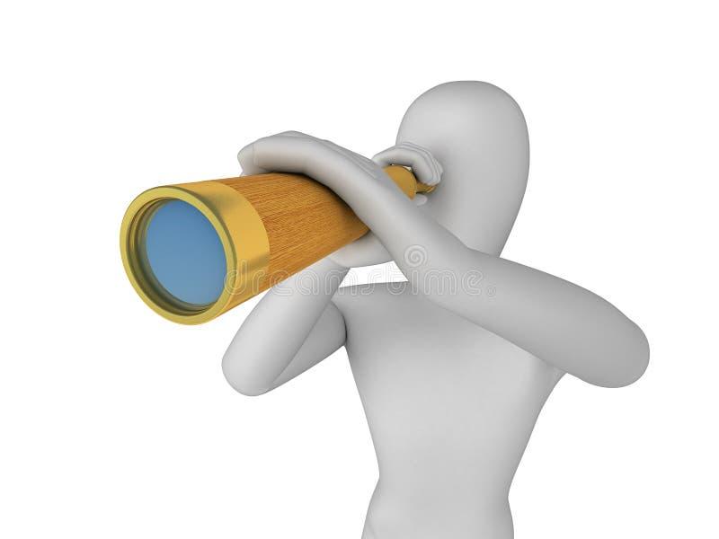 uomo 3D che osserva attraverso in cannocchiale immagine stock