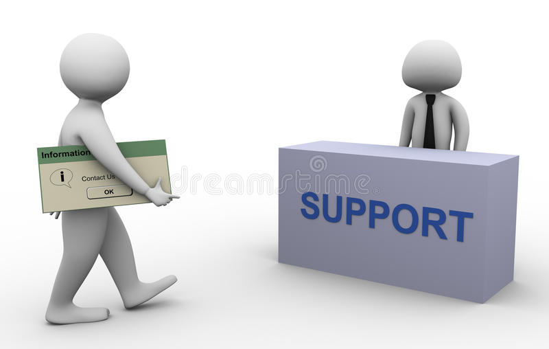 uomo 3d che si mette in contatto con supporto illustrazione di stock