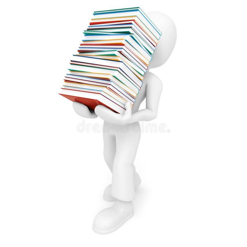 uomo 3d che tiene un mucchio dei libri illustrazione vettoriale