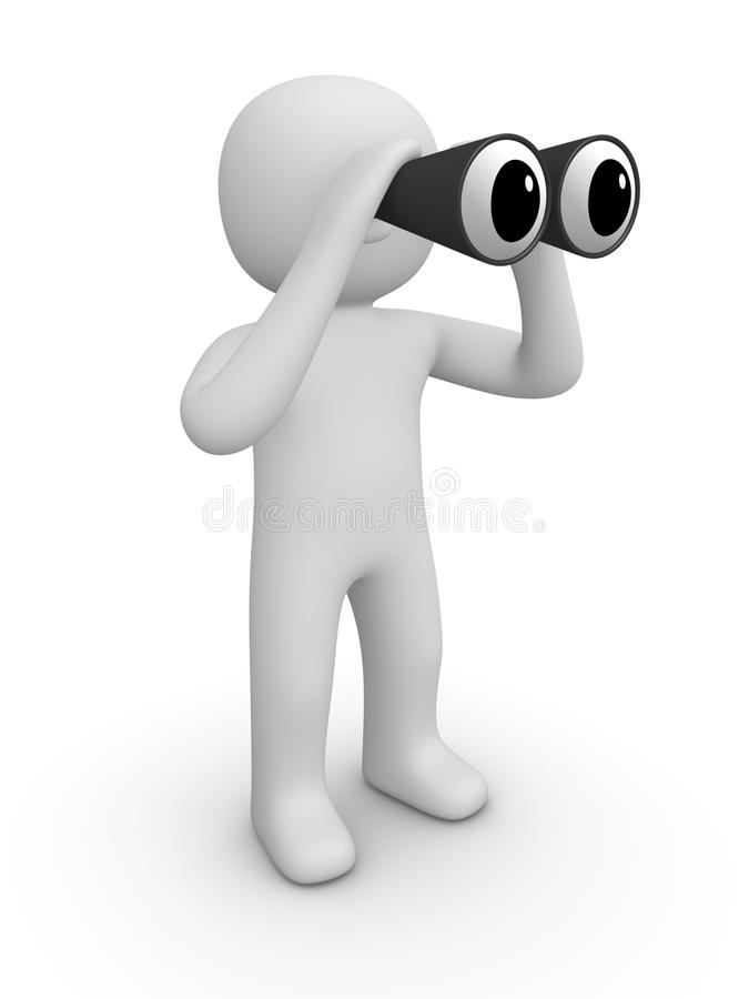 uomo 3d con il binocolo royalty illustrazione gratis