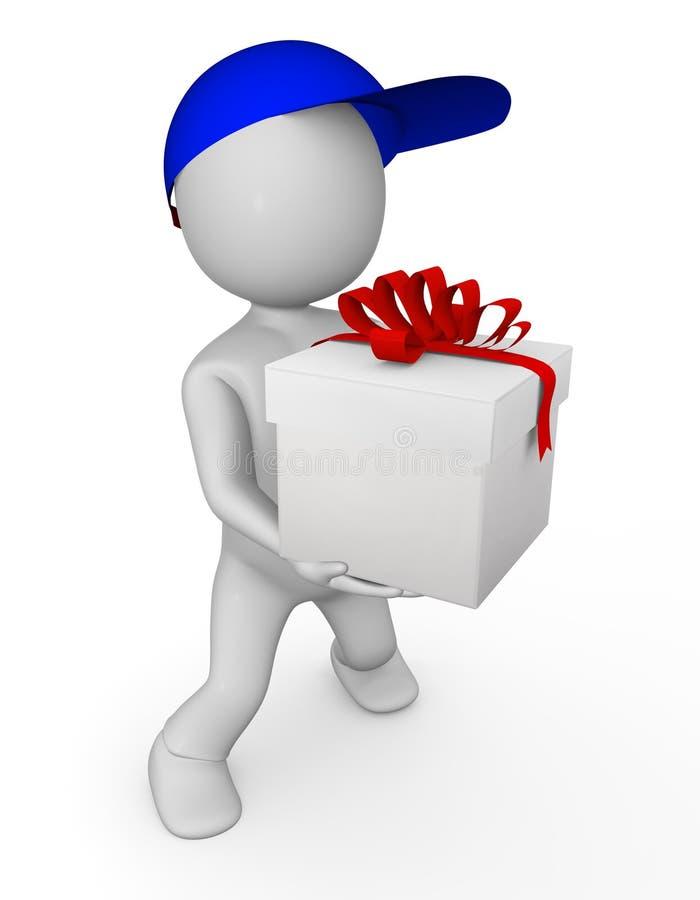 uomo 3d con il regalo immagini stock
