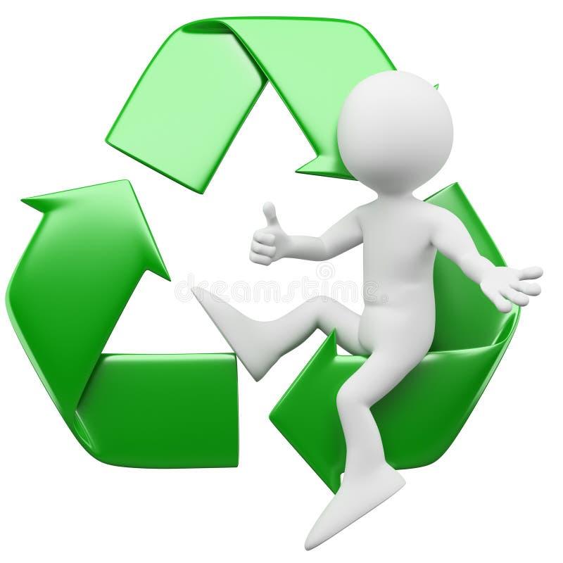 uomo 3D con il simbolo di riciclaggio illustrazione di stock