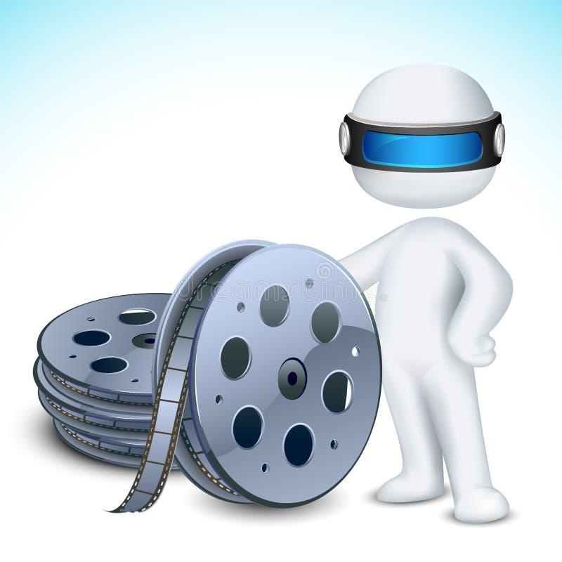 uomo 3d con la bobina di pellicola illustrazione di stock