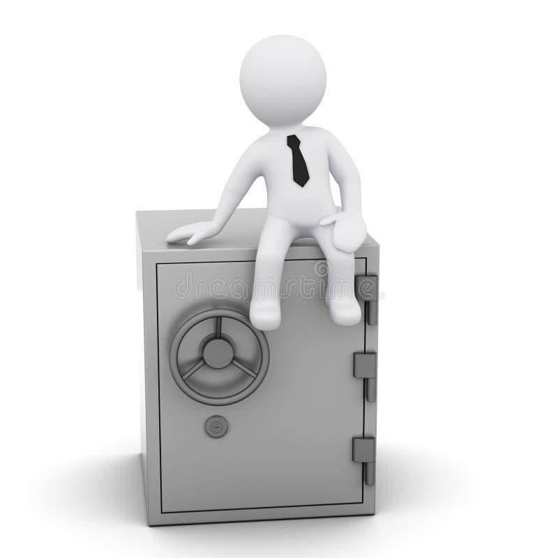 uomo 3D con la cassaforte illustrazione di stock
