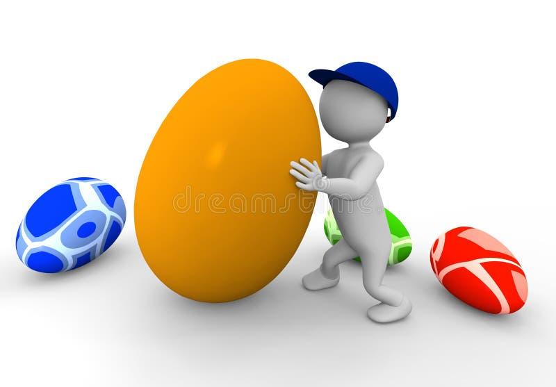uomo 3d con le uova immagini stock
