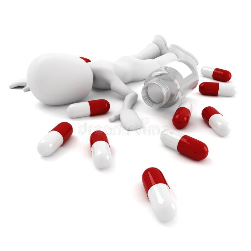 uomo 3d e lotti delle pillole illustrazione vettoriale