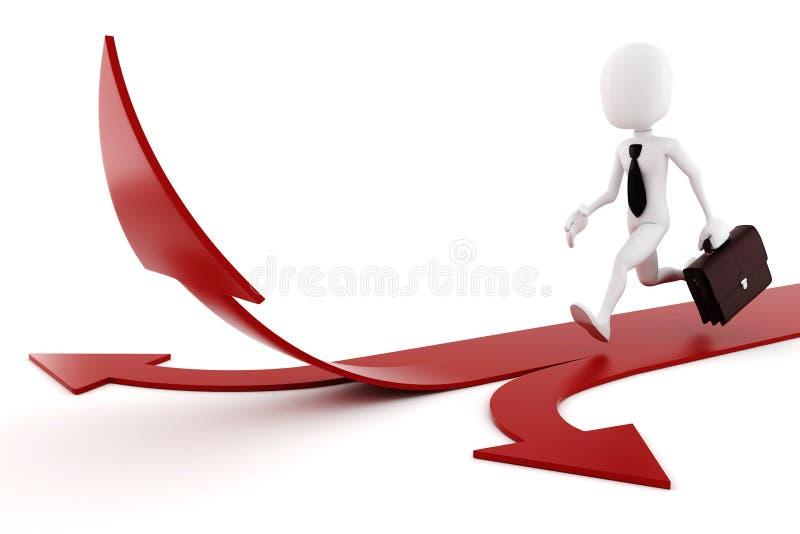 uomo 3d sul concetto della freccia-concorrenza illustrazione di stock