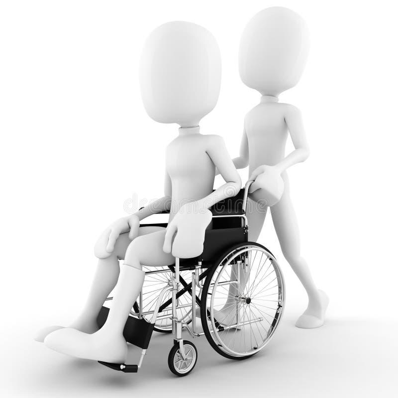 uomo 3d in una sedia a rotelle, isolata su bianco illustrazione di stock