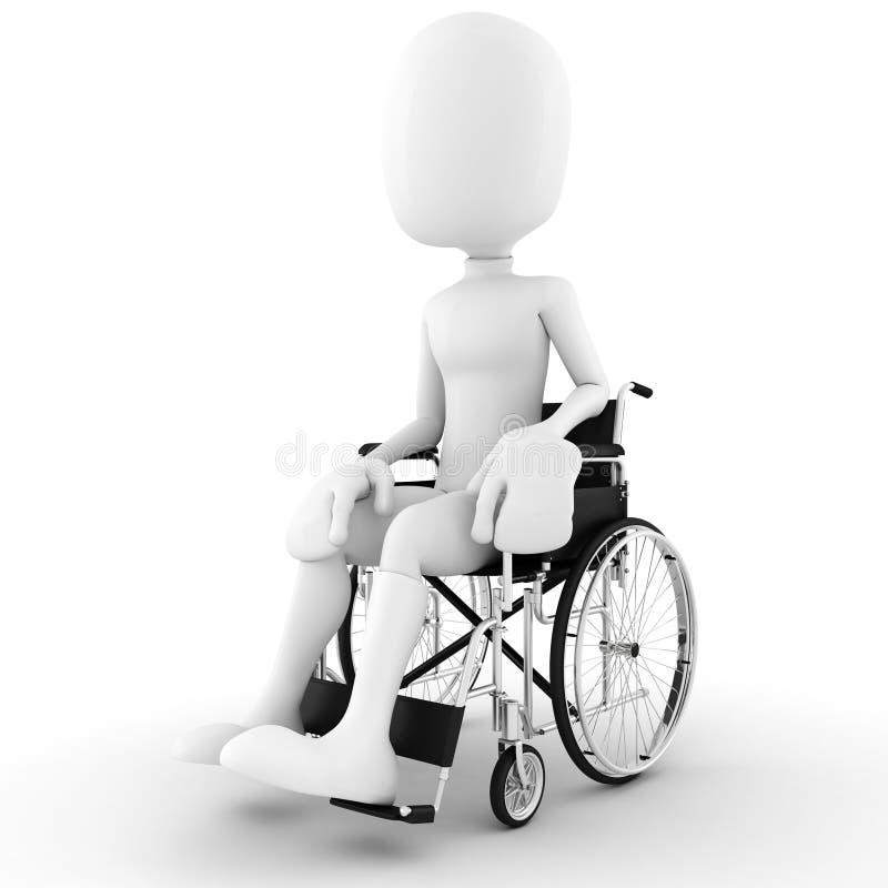 uomo 3d in una sedia a rotelle, isolata su bianco illustrazione vettoriale