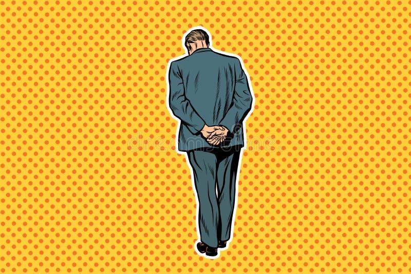 Uomo adulto che sta con il retro fondo di Pop art posteriore illustrazione vettoriale