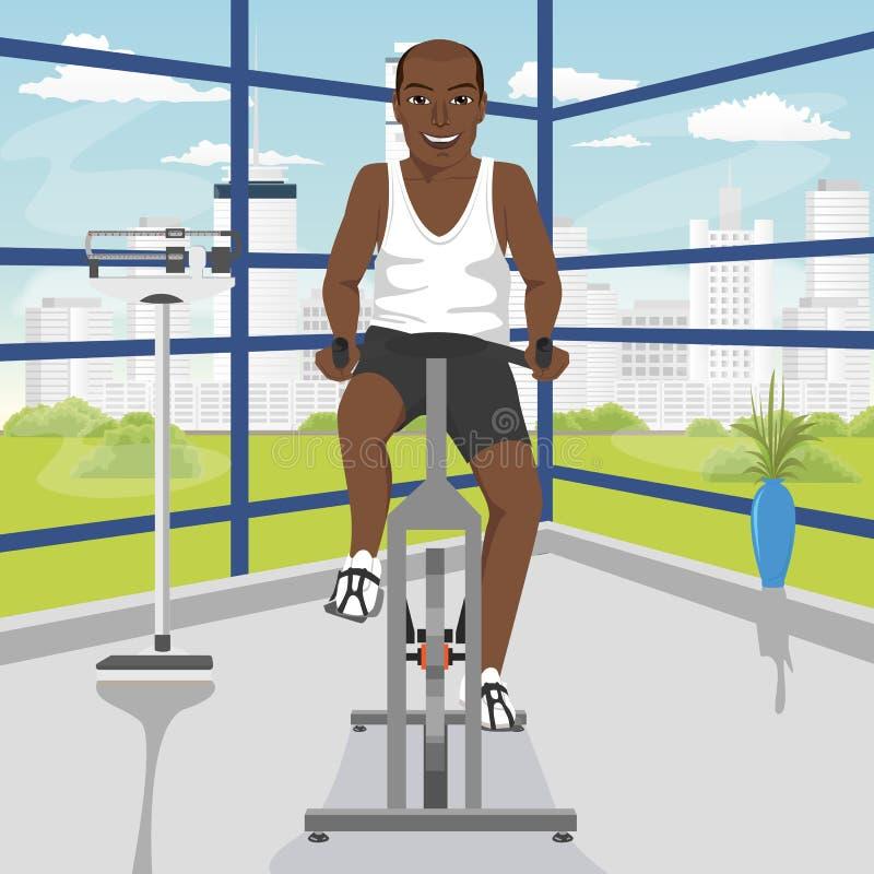 Uomo afroamericano che fa esercizio sulla bici alla palestra illustrazione di stock