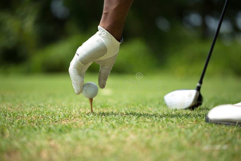 Uomo afroamericano che gioca golf immagini stock libere da diritti