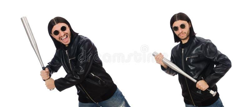 Uomo aggressivo con la mazza da baseball su bianco immagine stock libera da diritti