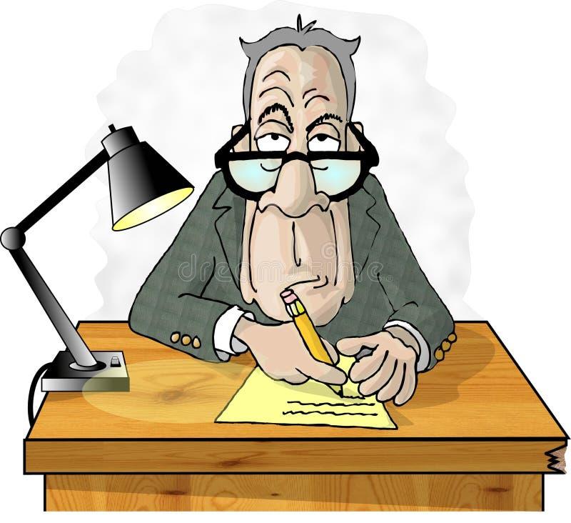 Uomo al suo scrittorio illustrazione vettoriale