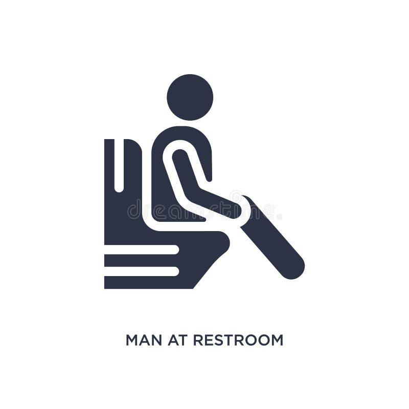 uomo all'icona della toilette su fondo bianco Illustrazione semplice dell'elemento dal concetto di comportamento royalty illustrazione gratis