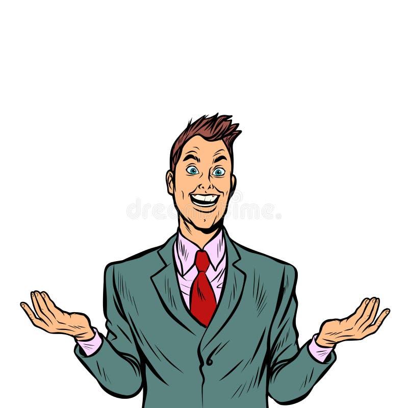 Uomo allegro sorpreso illustrazione di stock