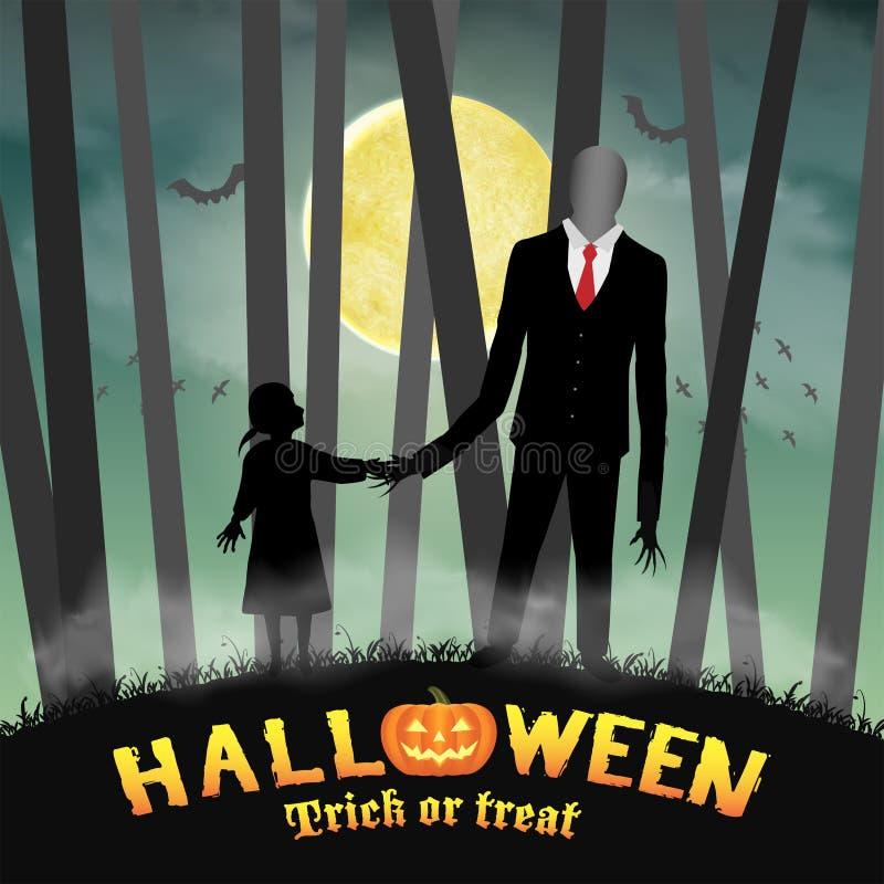 Uomo alto snello di Halloween con la ragazza in foresta illustrazione di stock