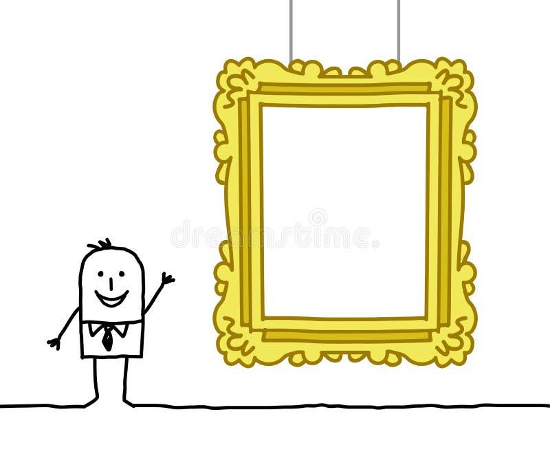 Uomo & blocco per grafici in bianco del museo royalty illustrazione gratis