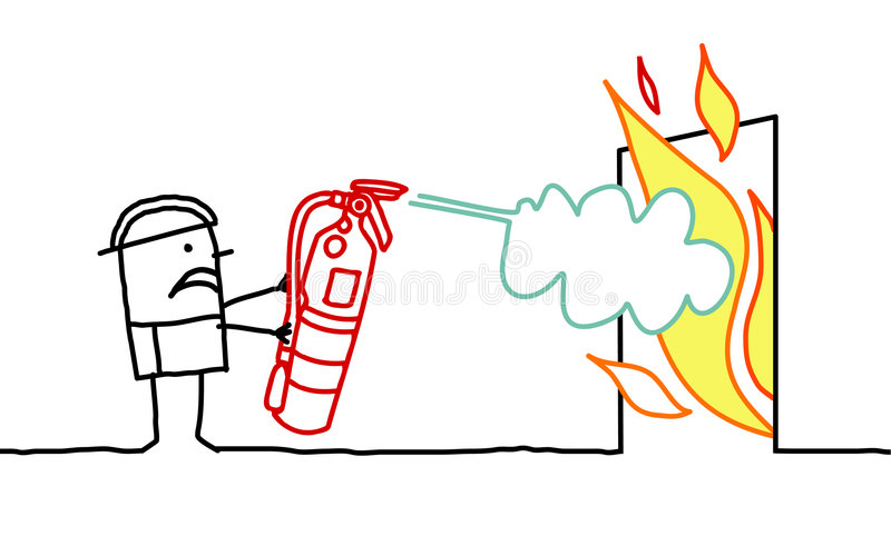 Uomo & fuoco illustrazione di stock