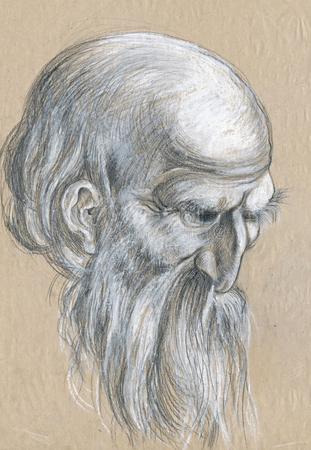Uomo anziano 2 - illustrazione, abbozzo illustrazione vettoriale