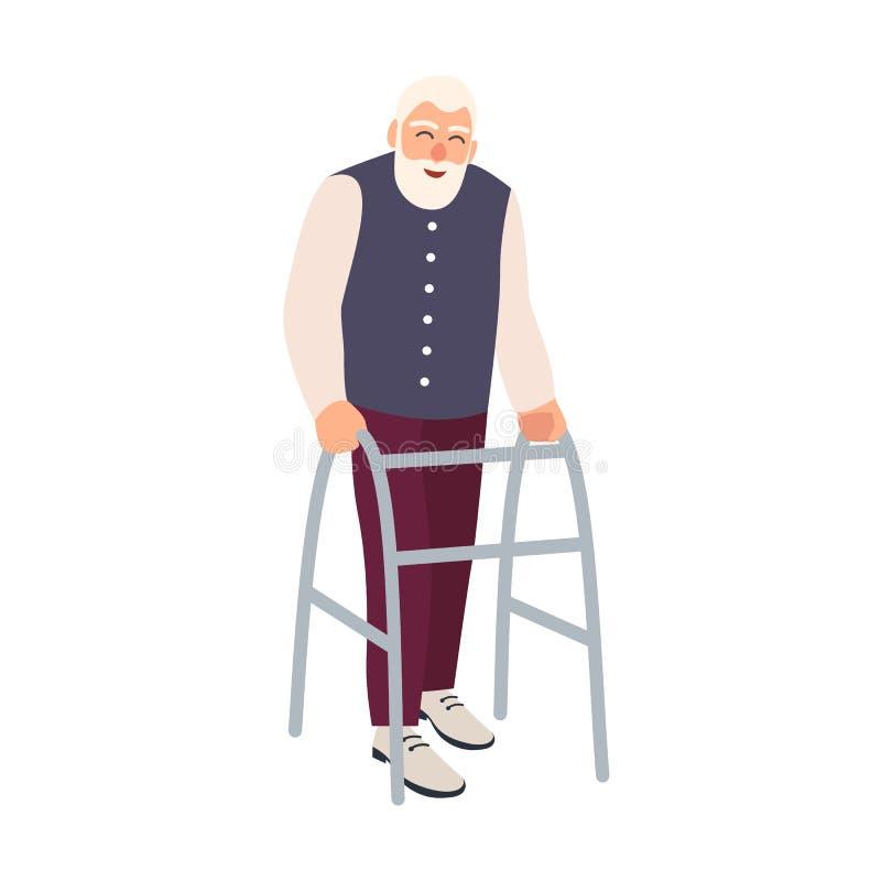 Uomo anziano allegro con la struttura di camminata o camminatore isolato su fondo bianco Vecchio carattere maschio barbuto con il illustrazione di stock