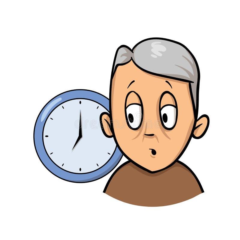 Uomo anziano che è confuso e dimentico circa tempo Icona di progettazione del fumetto Illustrazione piana di vettore Isolato su b illustrazione vettoriale