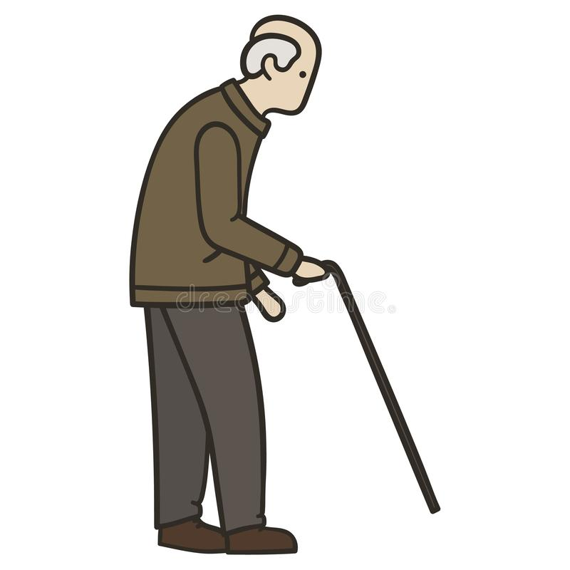 Uomo anziano che cammina da solo con una canna illustrazione vettoriale