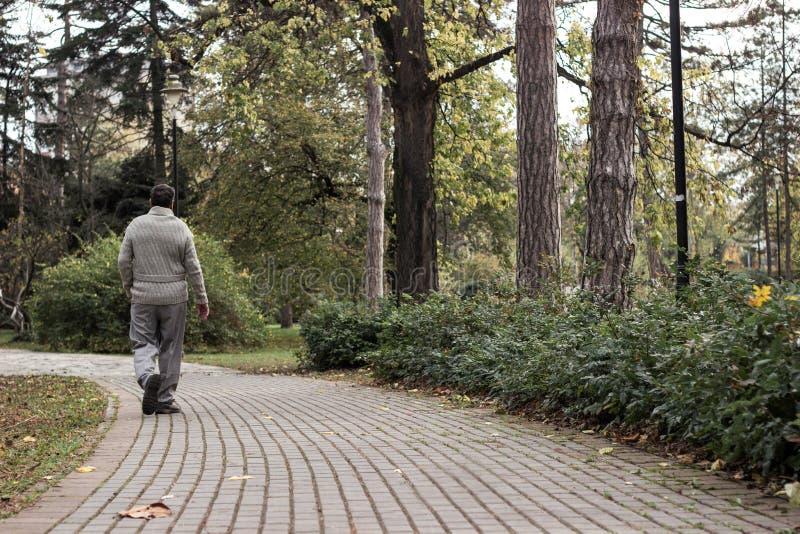 Uomo anziano che cammina, mani afferrate Uomo anziano che cammina e si rilassa Park fotografia stock