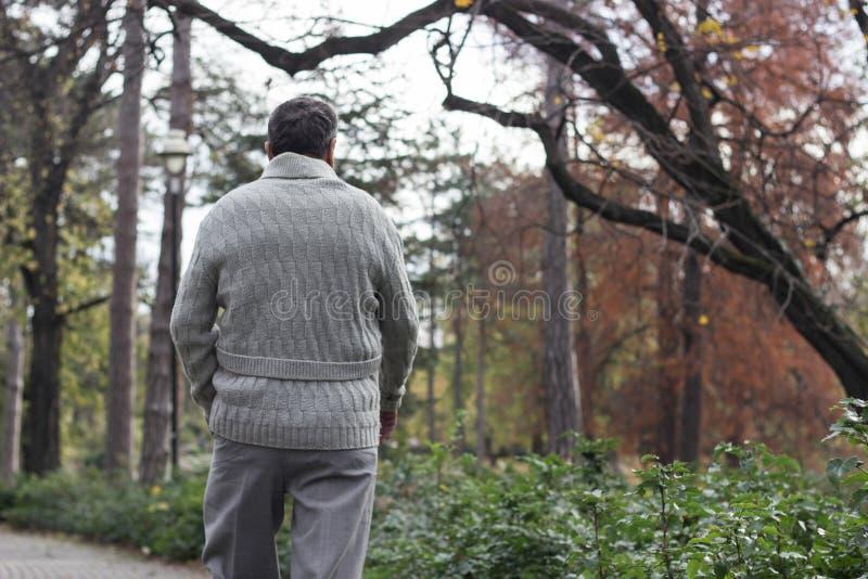 Uomo anziano che cammina, mani afferrate immagine stock libera da diritti