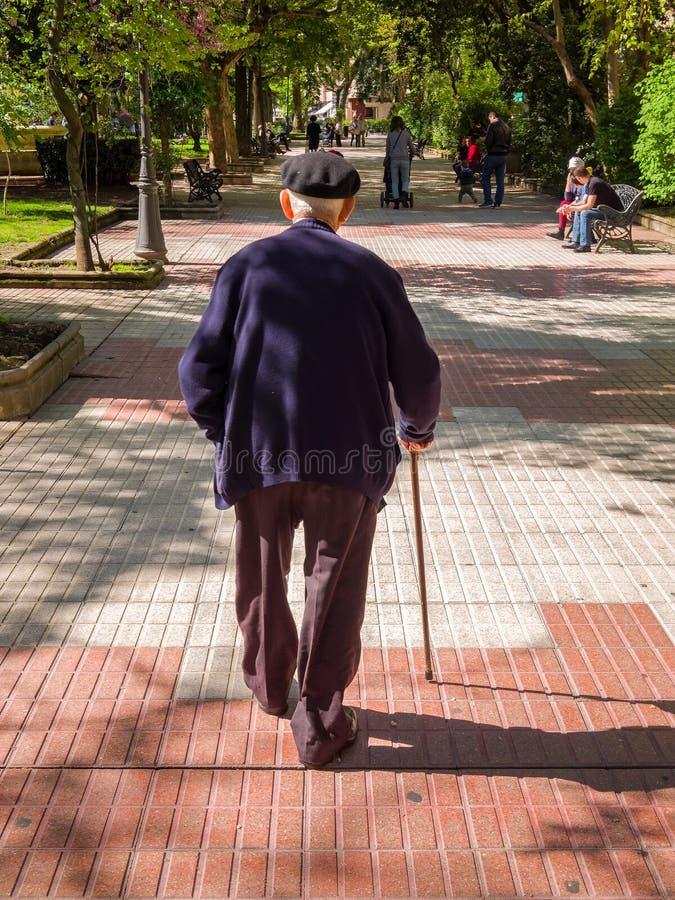 Uomo anziano che cammina nella sosta fotografia stock