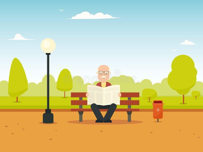 Uomo anziano che si siede sul banco illustrazione vettoriale