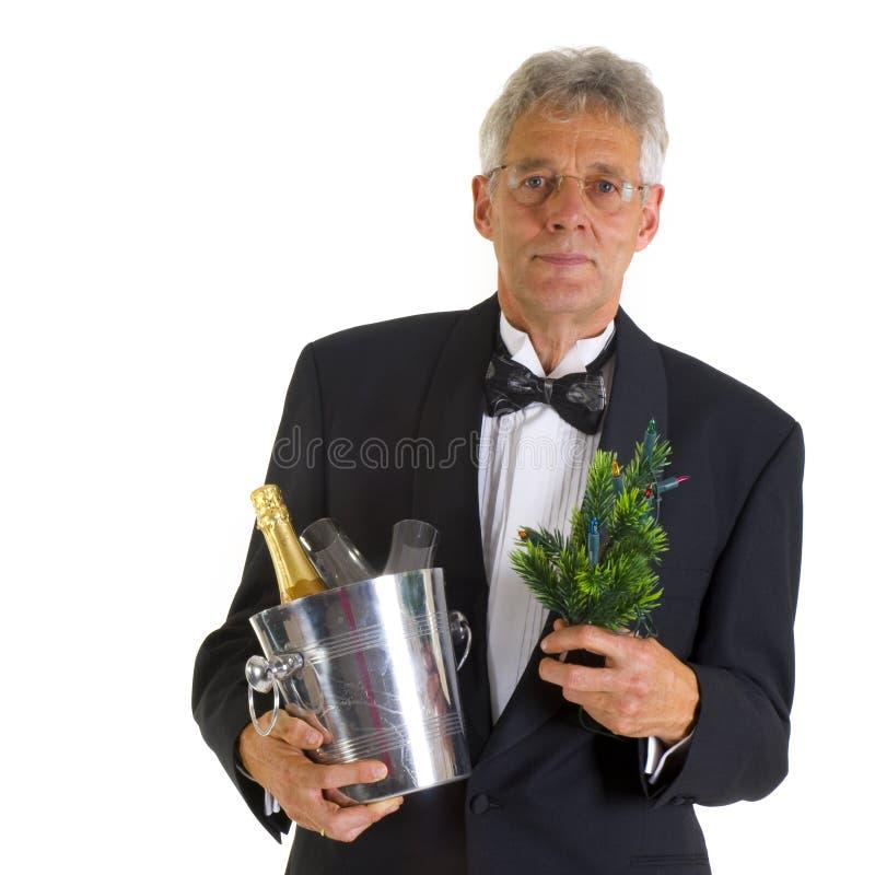 Uomo anziano con i presente fotografie stock