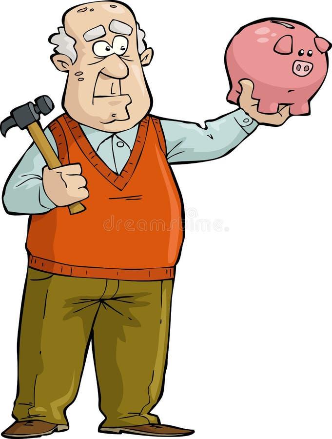 Uomo anziano con il porcellino salvadanaio illustrazione vettoriale