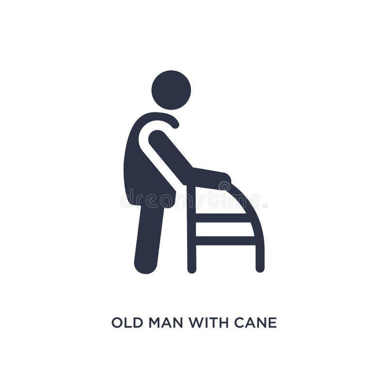 uomo anziano con l'icona della canna su fondo bianco Illustrazione semplice dell'elemento dal concetto di comportamento illustrazione di stock