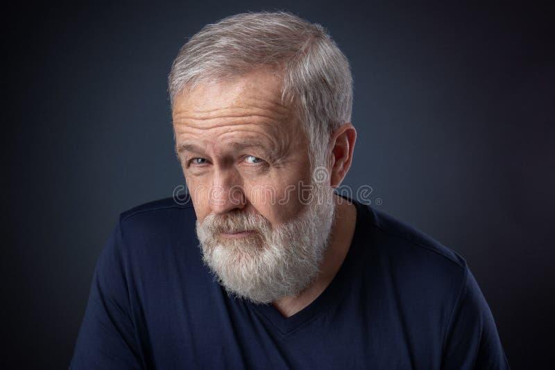 Uomo anziano con la barba grigia che sembra sospettosa immagini stock