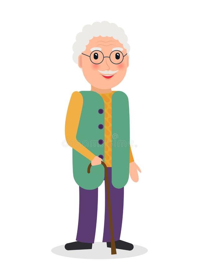 Uomo anziano con la canna illustrazione di stock