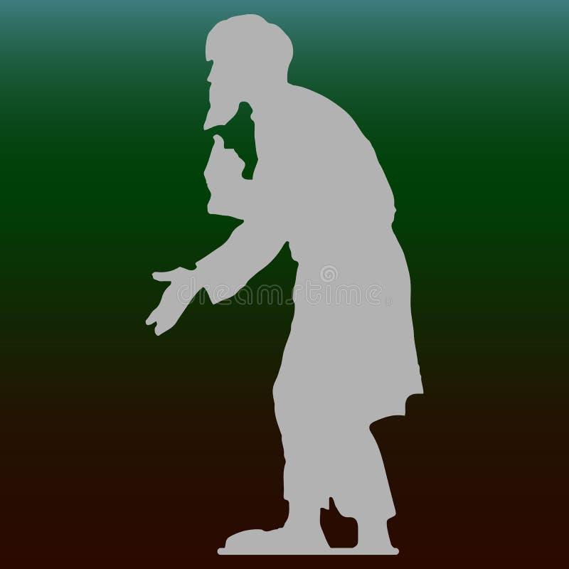 Uomo anziano con un nonno della barba, siluetta hunched e grigia del mendicante su un fondo verde scuro royalty illustrazione gratis