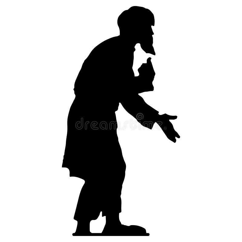 Uomo anziano con un nonno della barba, siluetta hunched e nera del mendicante su fondo bianco royalty illustrazione gratis