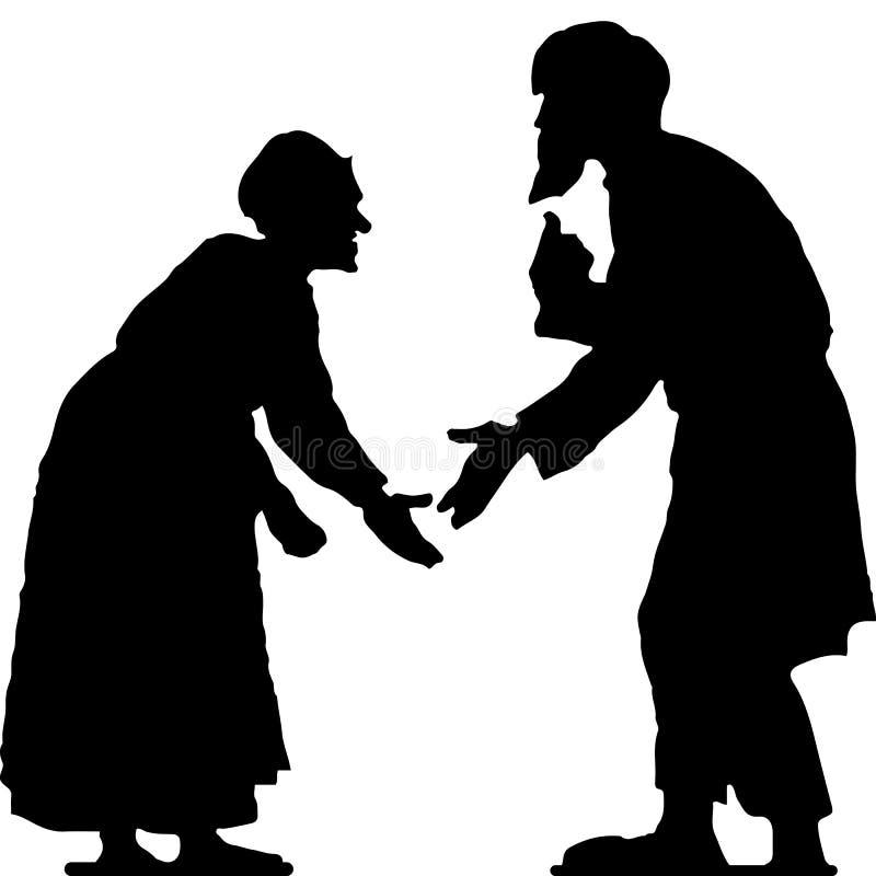 Uomo anziano con una barba e donna anziana che discute, siluetta hunched e nera su fondo bianco illustrazione di stock