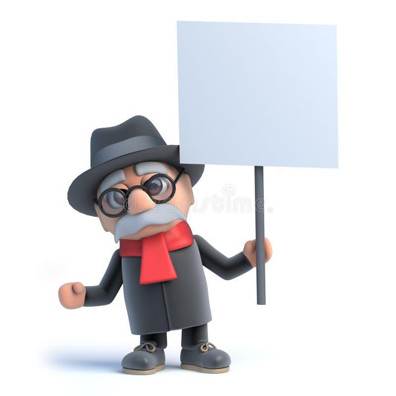 uomo anziano 3d che tiene un cartello royalty illustrazione gratis