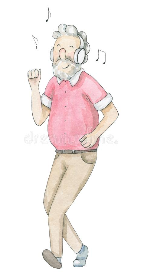 Uomo anziano dell'acquerello che gode della musica e dei balli illustrazione vettoriale