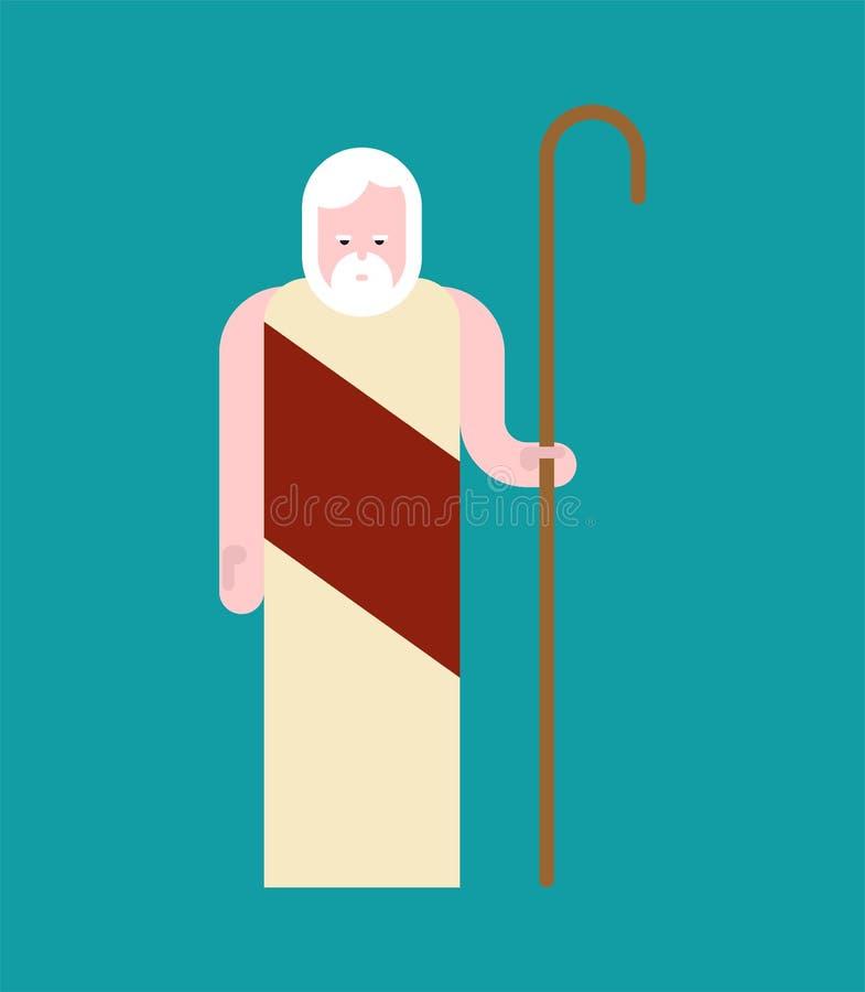 Uomo anziano di Noah Preacher Uomo della bibbia conservato da Dio dall'inondazione illustrazione di stock