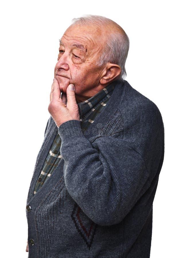Uomo anziano di pensiero immagini stock libere da diritti